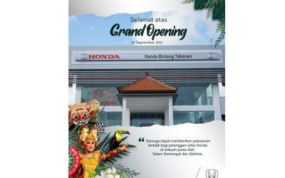 Selamat Atas Opening Honda Tabanan Bali